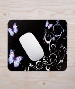 Tapis de souris - Motif papillons et dentelle sur fond noir
