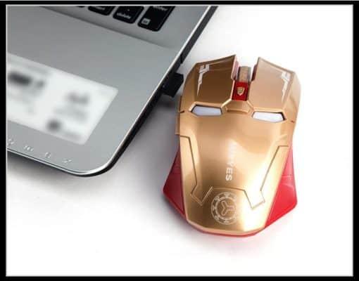 souris ordinateur sans fil lumineuse led robot iron man