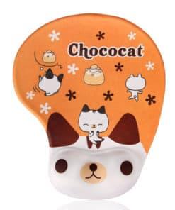 Tapis de souris enfant avec repose poignet chat chocolat