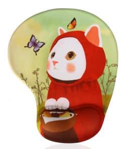 Tapis de souris enfant avec repose poignet chat chaperon rouge