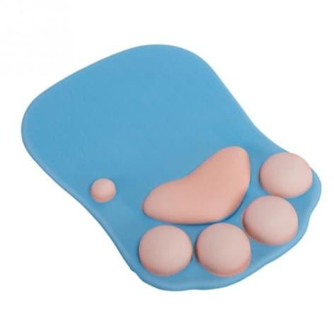 tapis de souris ergonomique patte chat bleu