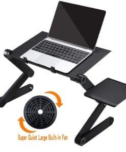 Tablette ajustable noir en aluminium pour ordinateur portable avec ventilateur intégré