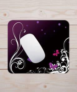 Tapis de souris - Motif papillons et dentelle sur fond violet