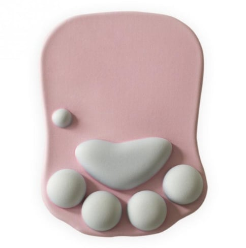 tapis de souris ergonomique patte chat rose