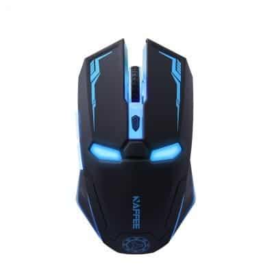 souris ordinateur sans fil lumineuse led robot iron man noire