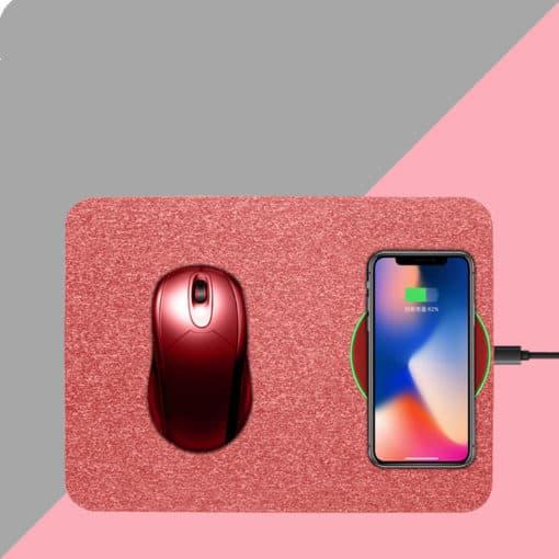 tapis de souris rechargeable en microfibres avec un téléphone