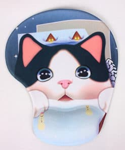 Tapis de souris enfant avec repose poignet gros chat