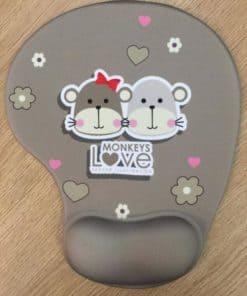 Tapis de souris enfant avec repose poignet couple de singes