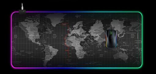 Tapis de Souris Gamer Lumineux Mouse Pad LED Rétro-Eclairage monde