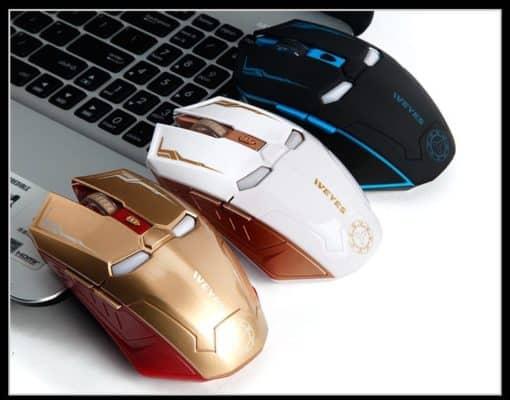 souris ordinateur sans fil lumineuse led robot iron man colories