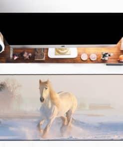 Tapis de souris XXL – Série animaux – Cheval blanc dans la neige