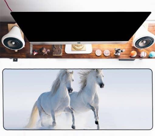 Tapis de souris XXL - Série animaux - Chevaux blancs au galop