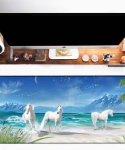 Tapis de souris XXL – Série animaux – Chevaux blancs sur la plage