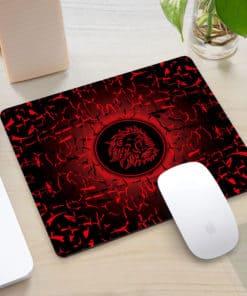 Tapis de souris rectangle gaming motif lion rugissant couleur rouge