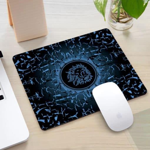 Tapis de souris rectangle gaming motif lion rugissant couleur bleu