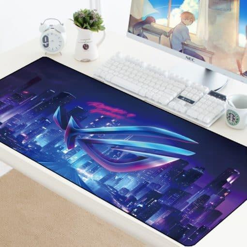 tapis de souris Republic of Gamers logo bleu et violet