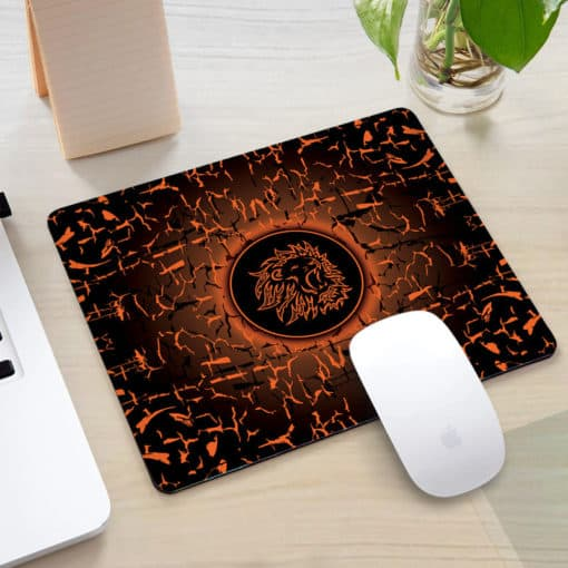 Tapis de souris rectangle gaming motif lion rugissant couleur marron