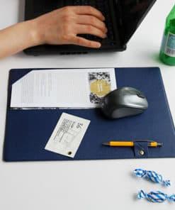 Tapis de souris simili cuir porte stylo et documents