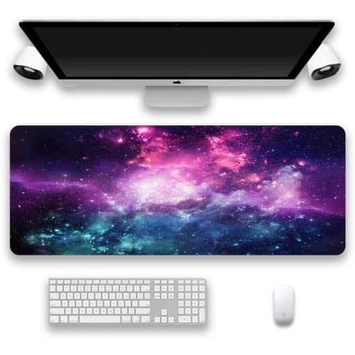 Tapis de souris XXL - Série espace et galaxie - Nébuleuse violette et verte