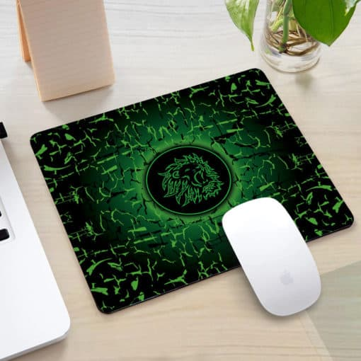 Tapis de souris rectangle gaming motif lion rugissant couleur vert