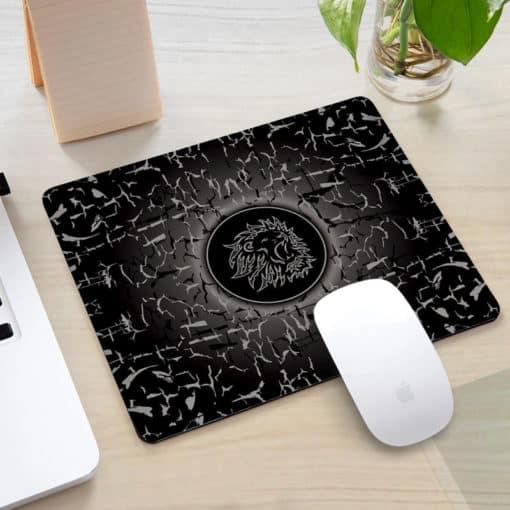 Tapis de souris rectangle gaming motif lion rugissant couleur noir