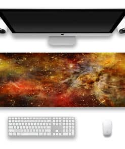 Tapis de souris XXL - Série espace et galaxie - Nébuleuse orange et rouge