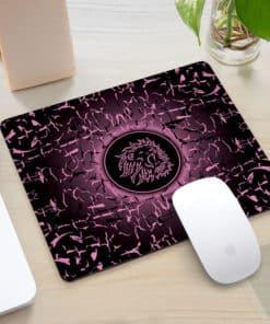 Tapis de souris rectangle gaming motif lion rugissant couleur rose