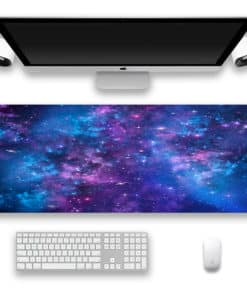 Tapis de souris XXL - Série espace et galaxie - Nébuleuse violette et bleue