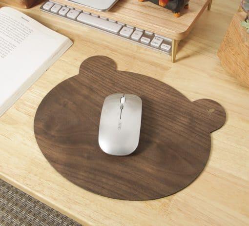 tapis de souris en bois forme d'ourson