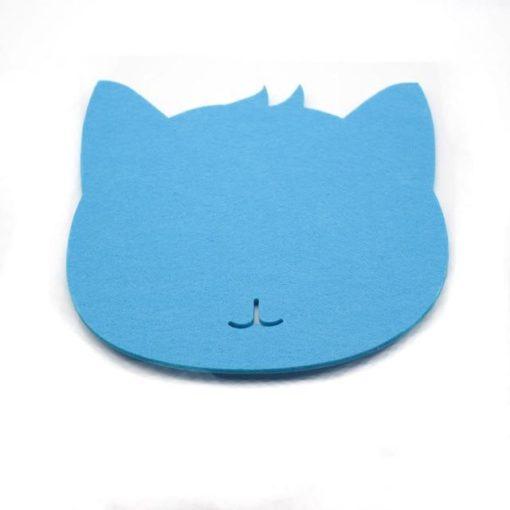 Tapis de souris chat en textile feutre couleur bleu