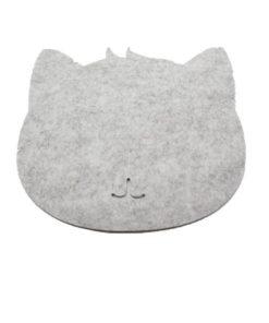 Tapis de souris chat en textile feutre couleur gris clair