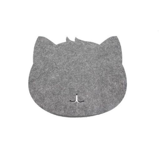 Tapis de souris chat en textile feutre couleur gris foncé