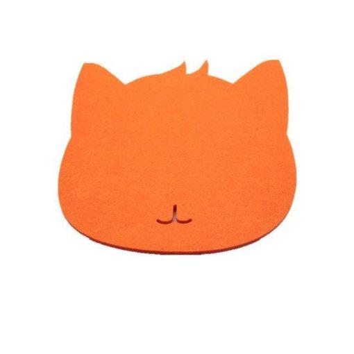 Tapis de souris chat en textile feutre couleur orange
