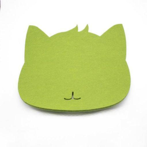 Tapis de souris chat en textile feutre couleur vert