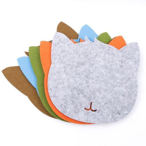 Tapis de souris chat en textile feutre - Différents coloris