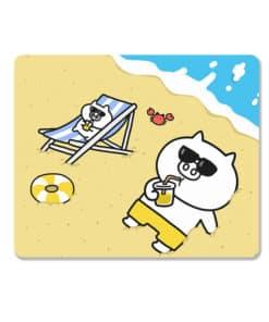 Tapis de souris enfant famille de petits cochons à la plage