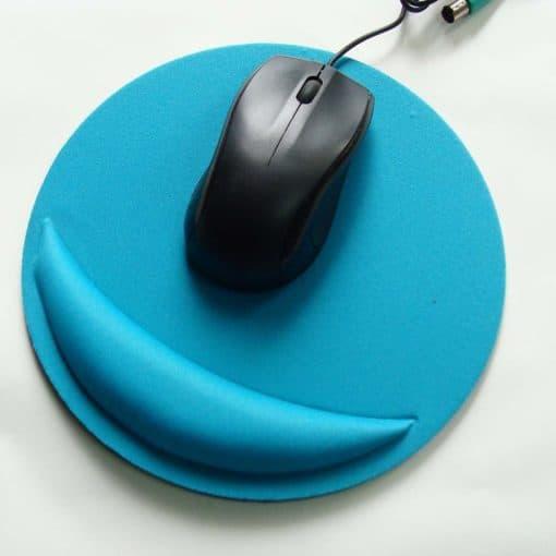 Tapis de souris ergonomique rond avec repose-poignet couleur bleu clair