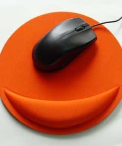 Tapis de souris ergonomique rond avec repose-poignet couleur orange