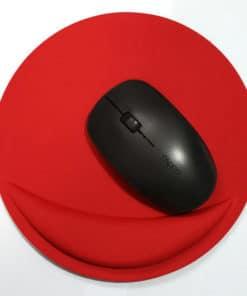 Tapis de souris ergonomique rond avec repose-poignet couleur rouge