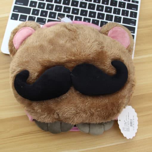 tapis de souris chauffant USB tête à moustache modèle marron clair moustache noire