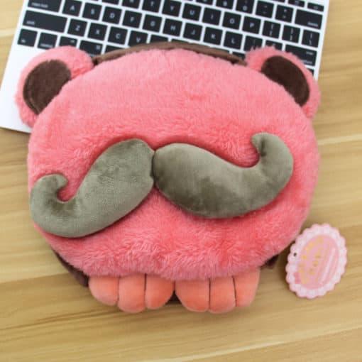 tapis de souris chauffant USB tête à moustache modèle rose moustache verte