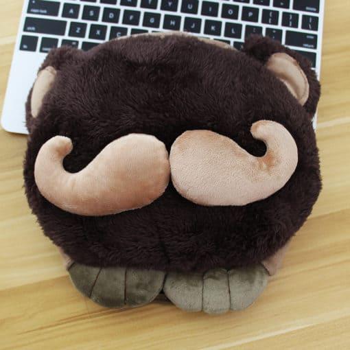tapis de souris chauffant USB tête à moustache modèle marron foncé moustache beige