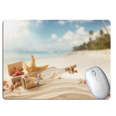 tapis de souris paysage plage paradisiaque bouteille