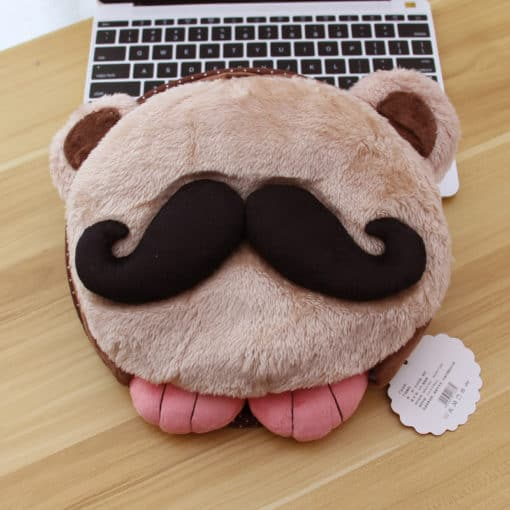 tapis de souris chauffant USB tête à moustache modèle beige moustache noire