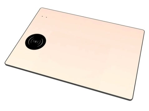 Tapis de souris aluminium avec chargeur sans fil à induction Qi - Couleur or