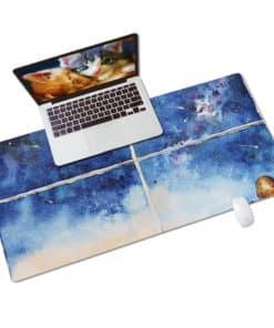 Tapis de souris XXL Aquarelle - Chiens admirant une nuit d'étoiles filantes vue PC