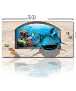 Grand tapis de souris - Requin 3D et coraux