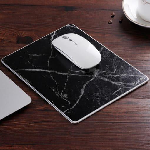 Tapis de souris double matière aluminium et cuir couleur cuir noir