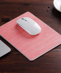Tapis de souris double matière aluminium et cuir couleur rose