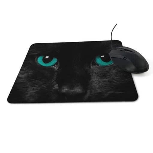 Tapis de souris chat noir aux yeux verts